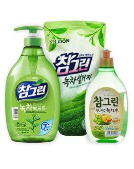 Корейское средство для мытья посуды овощей и фруктов зеленый чай CJ LION Chamgreen Green Tea, недорого купить бытовую химию кореи, доставка самовывоз скидки