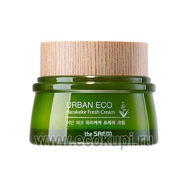 Крем для лица освежающий The Saem Urban Eco Harakeke Fresh Cream натуральная косметика из кореи купить в интернет магазине со скидкой Москва