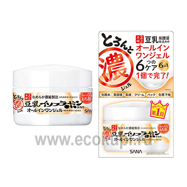 Японский крем - гель увлажняющий с изофлавонами сои 6 в 1 SANA Soy Milk Gel Cream, товары из японии интернет магазин, доставка, самовывоз ПВЗ, купить дешево
