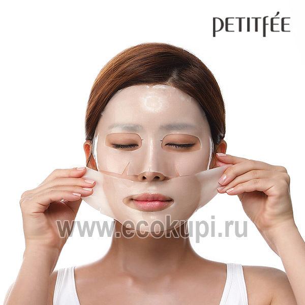 Корейская гидрогелевая маска для лица с 24-каратным коллоидным золотом PETITFEE Gold купить японскую и корейскую антивозрастную косметику недорого описаниие