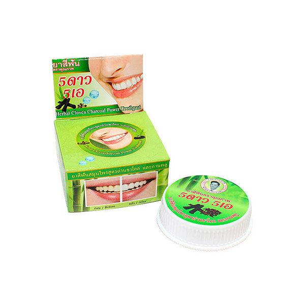 Травяная отбеливающая зубная паста с экстрактом угля бамбука 5 Star Cosmetics, Экокупи интернет магазин товары из Тайланда в Москве, выгодные цены, доставка
