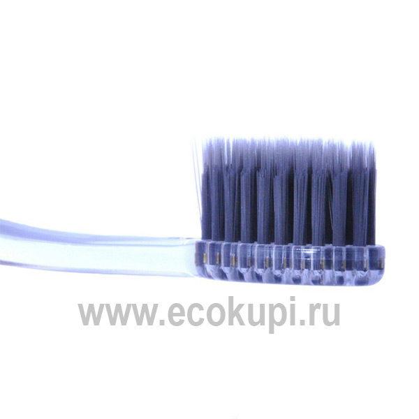 Корейская зубная щетка c древесным углем и сверхтонкой двойной щетиной средней жесткости и мягкой и прозрачной прямой ручкой, купить гигиена полости рта