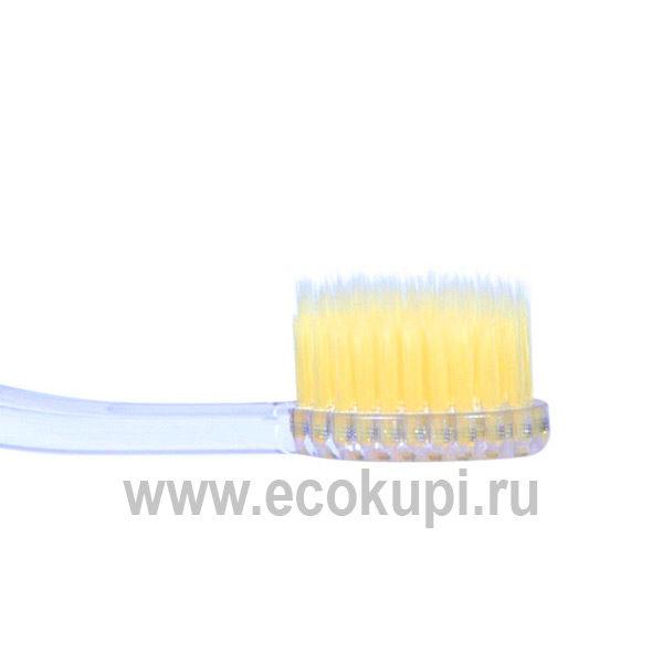 зубная щетка c наночастицами золота и сверхтонкой двойной щетиной мягкой и супермягкой и прозрачной прямой ручкой, дешево купить товары гигиены рта из Кореи