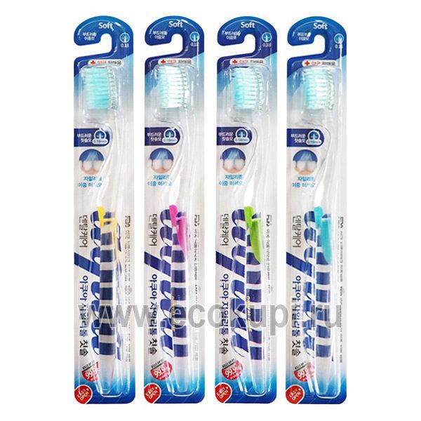 Корейская зубная щетка cо сверхтонкой двойной щетиной средней жесткости и мягкой и прозрачной прямой ручкой Ксилит DENTAL CARE, купить зубную щетку из Кореи