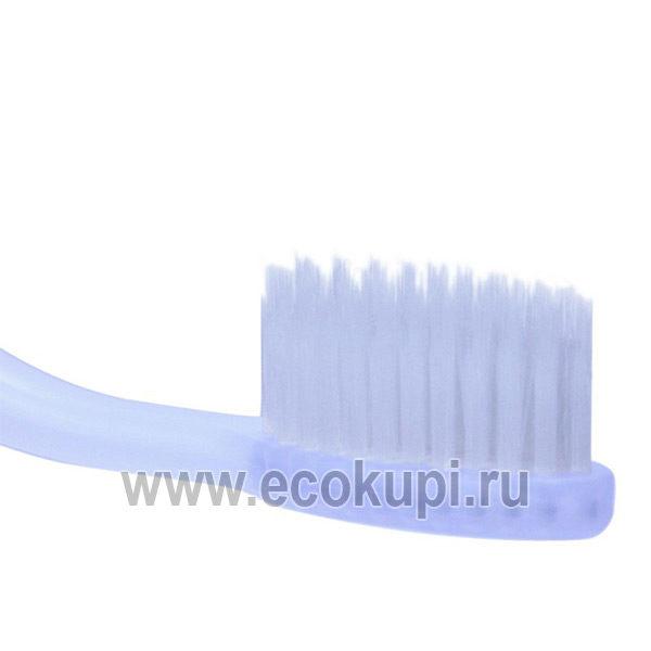 зубная щетка c наночастицами серебра cо сверхтонкой двойной щетиной средней жесткости и мягкой с изогнутой ручкой, недорого купить зубную щетку слабых десен