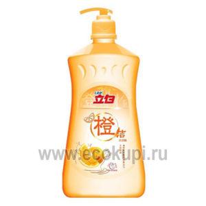 Жидкость для посуды - чистая посуда апельсин LIBY Dishwashing Liquid Orange, средства для мытья посуды из японии, дешево купить абразивная губка для посуды
