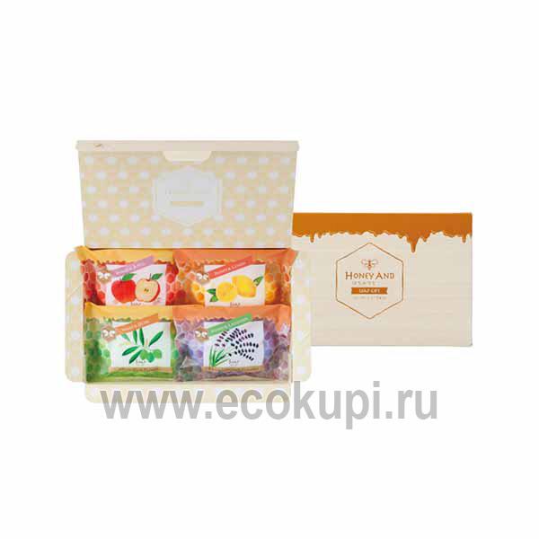 Японский подарочный набор туалетного мыла Мед и травы MASTER SOAP Honey Soap Set интернет магазин подарочных наборов Ecokupi Экокупи, гибкая система скидок