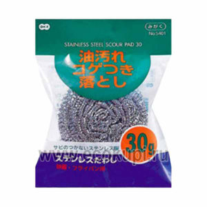 Японская губка для посуды металлическая OH:E Stainless Scrub Brush, интернет магазин товары из Японии, недорого купить металлическую губку для мытья посуды