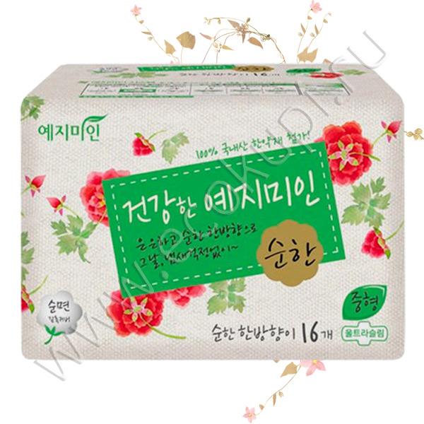 Женские гигиенические прокладки с умеренным ароматом трав YEJIMIIN Cotton Mild Herb Medium 16 шт хлопок моментальное впитывание ощущение мягкости и комфорта