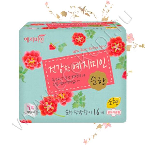Женские гигиенические прокладки с умеренным ароматом трав YEJIMIIN Silk Mild Herb Medium 16 шт шелк моментальное впитывание ощущение мягкости и комфорта