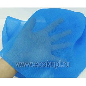 Японская массажная мочалка для тела жесткая синяя OH:E Cure Nylon Towel Regular недорого купить мочалка пилинг тела японские корейские товары