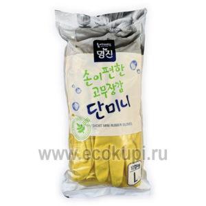 Перчатки латексные хозяйственные MYUNGJIN Rubber Glove Mymy Mini, недорого купить перчатки хозяйственные латексные, товары поддержания чистоты в доме, акции