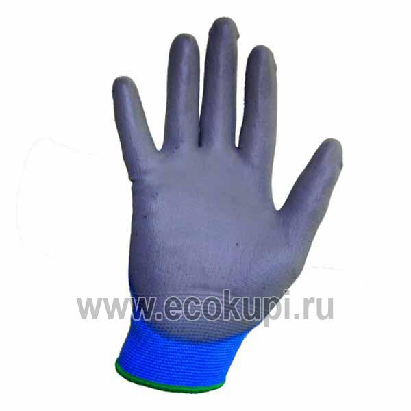 Перчатки хозяйственные с полиуретановым покрытием MYUNGJIN Hygienic Glove Coating, недорого купить тканевые перчатки для дома, самовывоз ПВЗ Санкт-Петербург