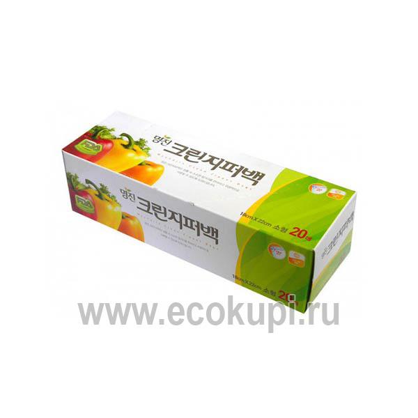 Пакеты полиэтиленовые пищевые с застежкой зиппером MYUNGJIN, хозяйственные товары, хозяйственные перчатки, купить хозяйственные товары из кореи и японии