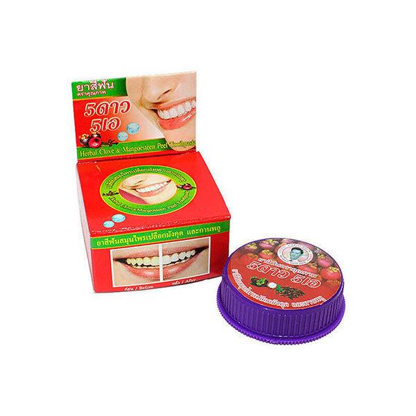 Травяная отбеливающая зубная паста с экстрактом Мангостина 5 Star Cosmetics купить недорого ополаскиватель для рта купить жесткая зубная щетка выгодные цены