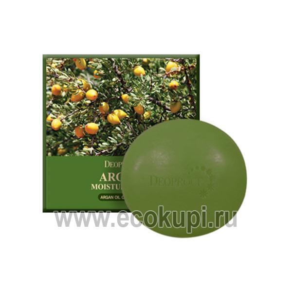 Увлажняющее мыло с натуральным аргановым маслом DEOPROCE Argan Moisture Soap, купить туалетное мыло для тела из японии кореи в интернет магазине самовывоз