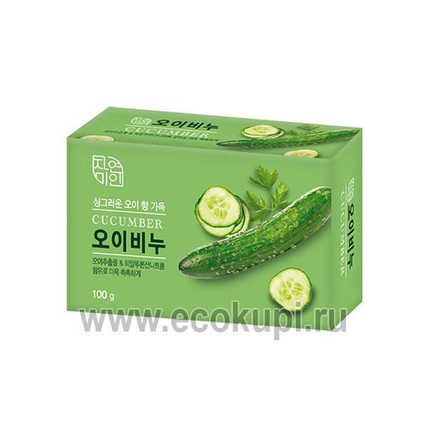 Корейское увлажняющее косметическое мыло с экстрактом огурца MUKUNGHWA Moisture Cucumber Soap купить косметическое мыло из Кореи недорого подробное описание