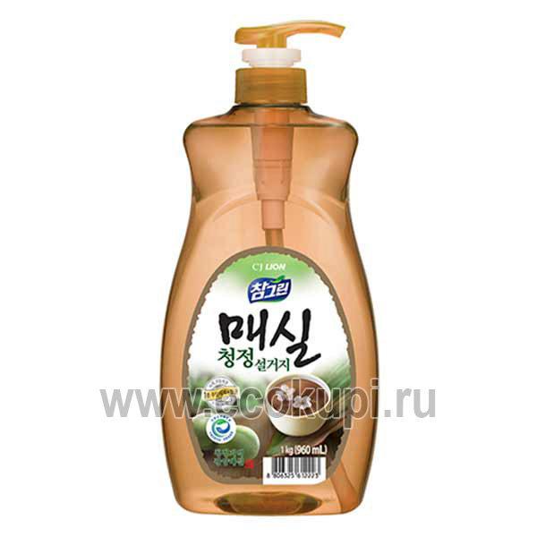Корейское средство для мытья посуды овощей и фруктов японский абрикос CJ LION Chamgreen Apricot, купить моющие средства в интернет магазине товаров из Кореи