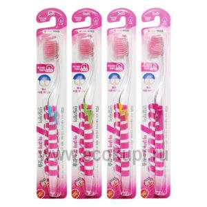 Корейская зубная щетка с прозрачной прямой ручкой cо сверхтонкой двойной щетиной мягкой и средней жесткости Фтор, купить товары гигиены рта из Японии Кореи