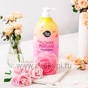 Корейский парфюмированный гель для душа роза Kerasys Shower Mate Flower Perfume Body Wash Rose, купить массажер релаксирующий, лучшие спа процедуры дома