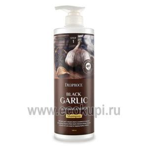 Шампунь против выпадения волос с экстрактом черного чеснока DEOPROCE Shampoo Black Garlic Intensive Energy, купить корейский шампунь контроль потери волос