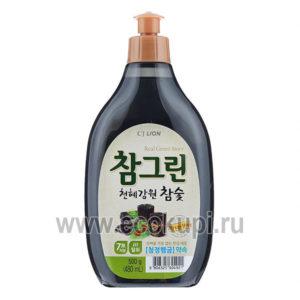 Корейское средство для мытья посуды овощей и фруктов древесный уголь CJ LION Chamgreen Charcoal, бытовая химия из Кореи, интернет магазин доставка по Москве