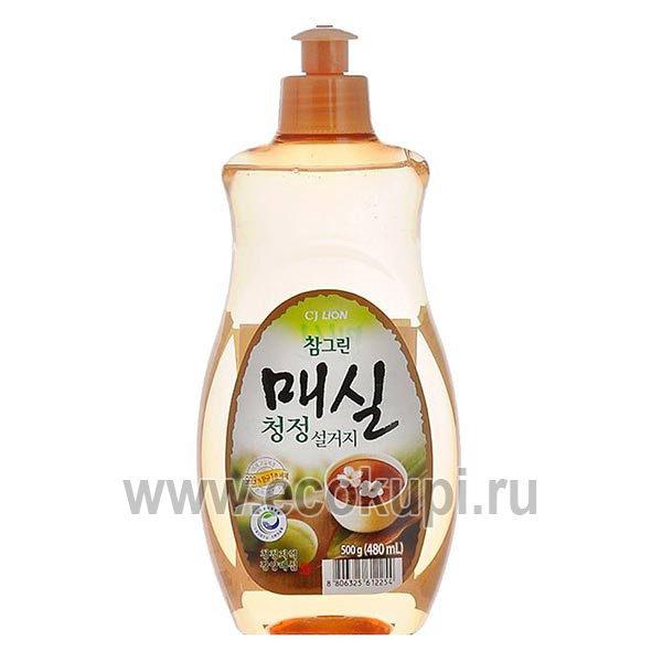 Корейское средство для мытья посуды овощей и фруктов японский абрикос CJ LION Chamgreen Apricot, купить недорогое моющее средство для посуды из Кореи скидки