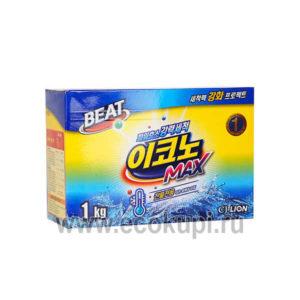Корейский стиральный порошок CJ LION Beat Econo Max, качественный стиральный порошок в интернет магазине корейских товаров, описание отзывы доставка скидки