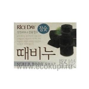 Корейское мыло туалетное с эффектом скраба Древесный уголь CJ LION Riceday Scrub Body Soap, твердое кусковое мыло для всей семьи из Кореи описание самовывоз