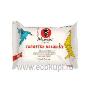 Японские cалфетки влажные с витамином Е и увлажняющим лосьоном Maneki, купить в Москве косметические средства для кожи лица из Японии, подробное описание