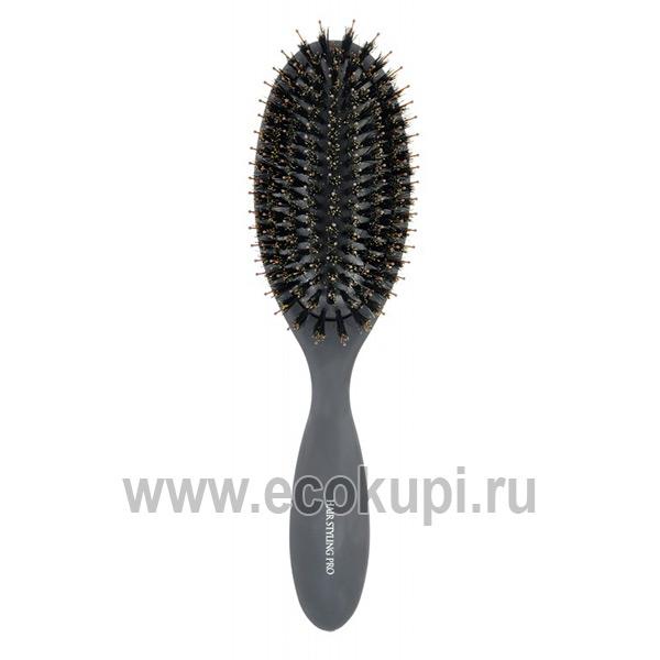 Японская профессиональная щетка для волос с натуральной щетиной Vess Hairstyling Pro Mix Cushion Brush купить японскую косметику для волос