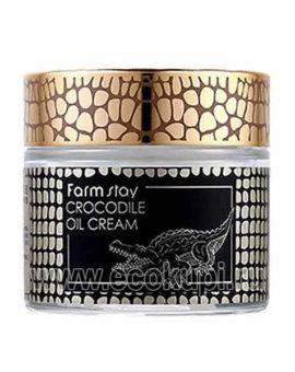Корейский питательный крем с жиром крокодила FarmStay Crocodile Oil Cream, купить по выгодной цене увлажняющее и освежающее косметическое средство, новинки
