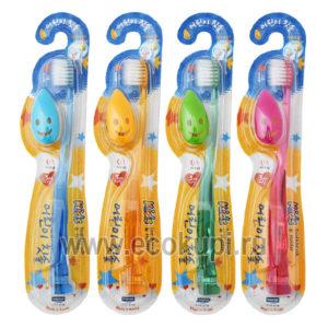 Зубная щетка детская с колпачком и держателем-присоской средняя жесткость Wang Ta Misorang Toothbrush Baby, купить корейские зубные пасты интернет магазин