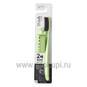 Зубная щетка уголь с колпачком и держателем-присоской средняя жесткость Wang Ta Misorang Toothbrush Charcoal, купить недорогие зубные щетки с углем отзывы