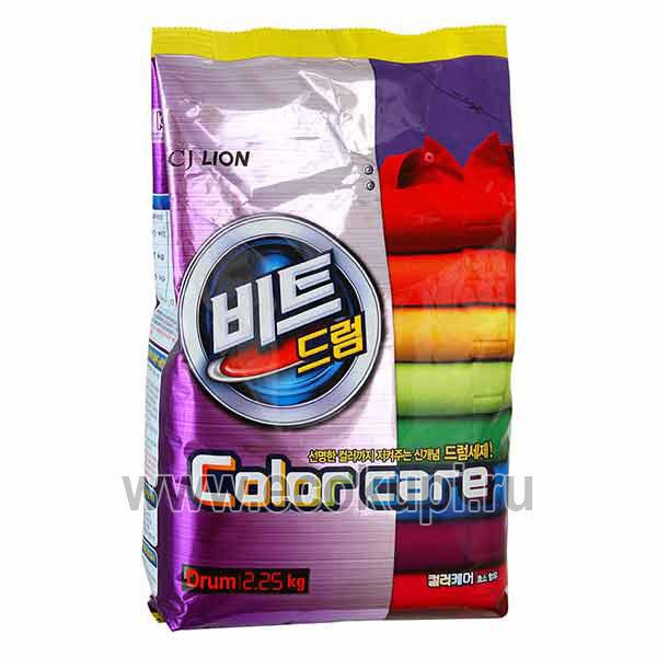 Корейский стиральный порошок с эффектом защиты цвета CJ LION Beat Drum Color Care, бытовая химия стирки цветного белья интернет магазин товаров Кореи, акции