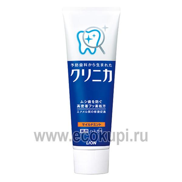 Японская зубная паста комплексного действия с ароматом мяты LION Clinica Mild Mint, японская зубная паста для всей семьи купить недорого интернет магазин