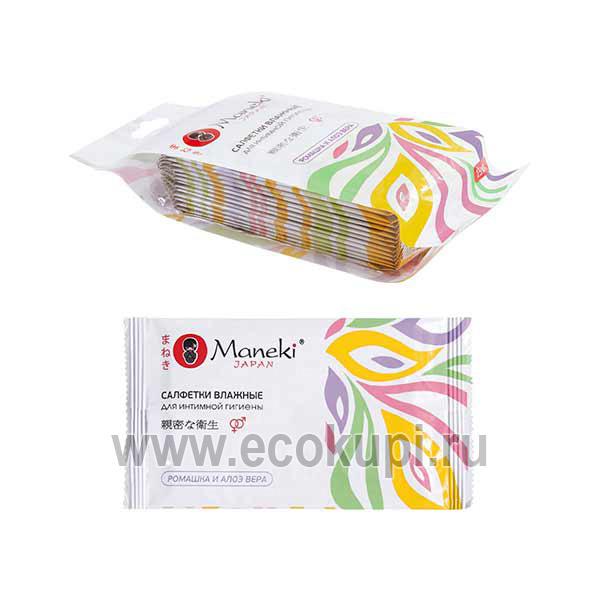 Японские салфетки влажные для интимной гигиены с Алоэ и Ромашкой в индивидуальной упаковке Maneki Kaiteki, нежные косметические салфетки удаления макияжа