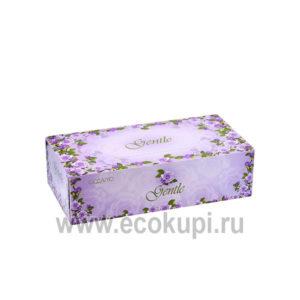 Японские двухслойные салфетки с ароматом Европы GENTLE 5 упаковок по 200 шт, купить салфетки бумажные косметическая гигиена, интернет магазин товаров Японии