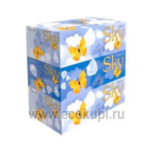 Японские двухслойные салфетки с ароматом ментола SKY 3 упаковки по 250 шт, купить красивые салфетки бумажные в интернет магазине японских товаров со скидкой