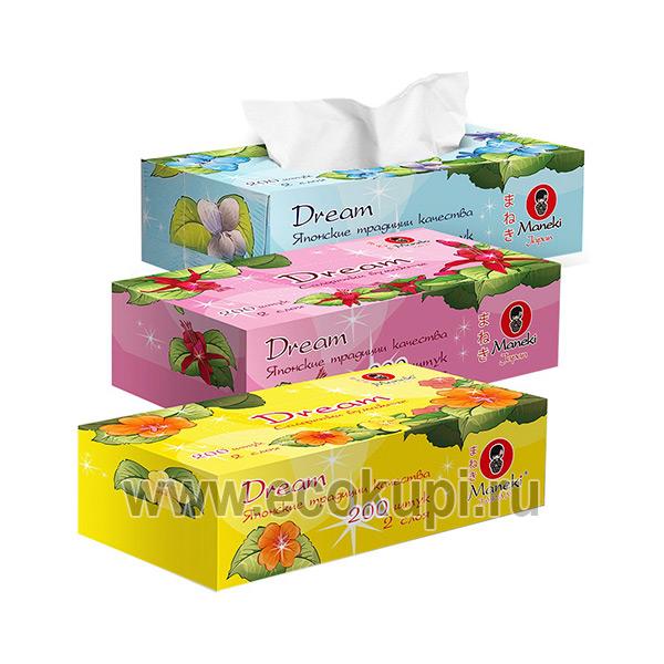 Японские салфетки бумажные двухслойные Maneki Dream, купить салфетки косметические, выгодные цены, удобная доставка, система накопительных скидок распродажи