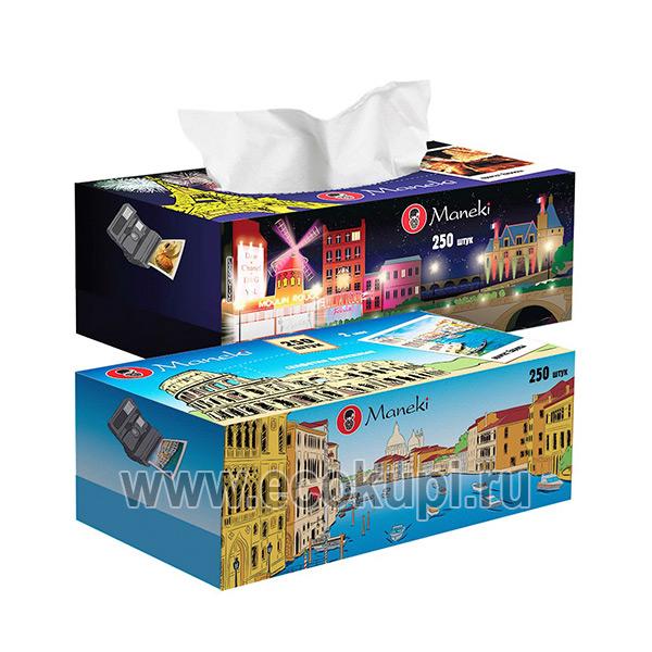 Японские салфетки бумажные двухслойные c ароматом Европы Maneki Dream, купить недорого косметические салфетки, интернет магазин японских товаров в Москве