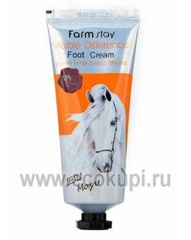 Корейский питательный крем для ног с лошадиным маслом FarmStay Jeju Mayu Foot Cream, купить защитный крем для кожи Экокупи корейский интернет магазин Москва