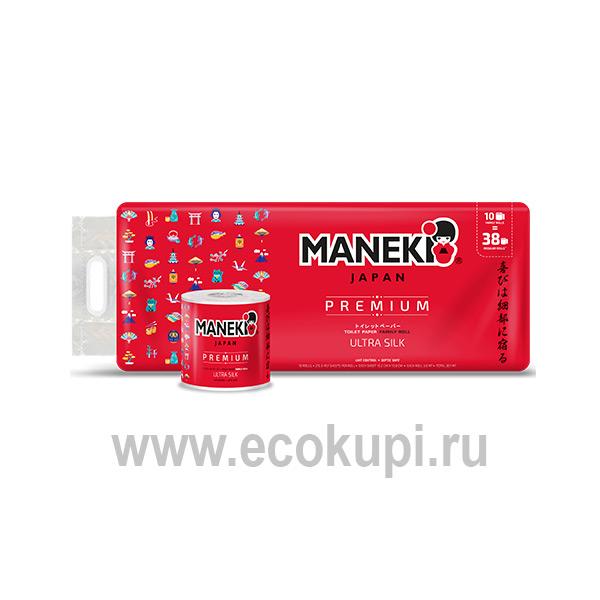 Японская туалетная бумага трехслойная премиум Maneki Premium Red купить товары гигиены хозяйственный магазин Японии Кореи Тайланда Европы