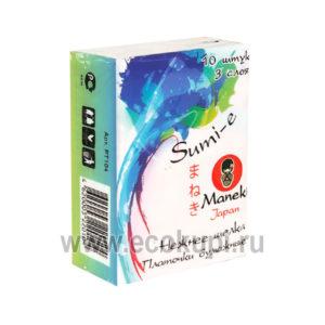Японские платочки бумажные 3 слоя Maneki Sumi-e блок из 10 упаковок по 10 платочков, интернет магазин японских товаров в Москве, купить одноразовые платочки