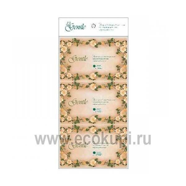 Японские трехслойные карманные салфетки - платочки с ароматом Европы GENTLE, купить недорого хозяйственные товары по разумной цене, праздничные распродажи
