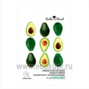 Корейская питательная маска с экстрактом авокадо Little Devil купить недорого косметическую маску для лица выгодные цены в Москве Экокупи