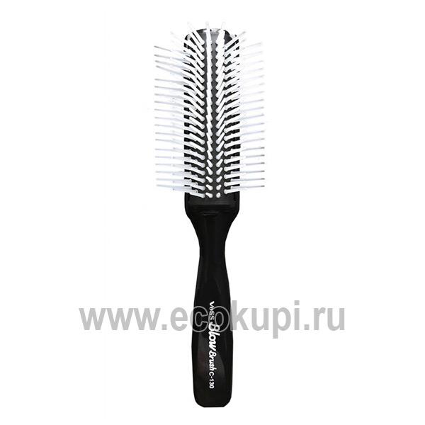 Японская профессиональная щетка для укладки волос черная Vess Blow Brush С-130 купить питательную косметику для волос Япония интернет магазин