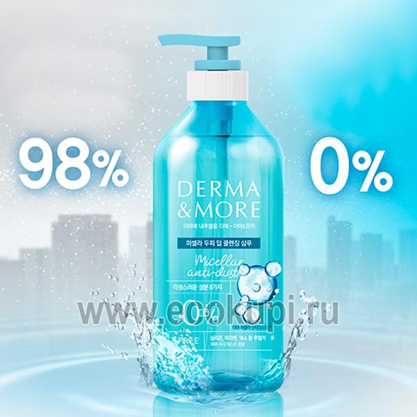 интернет магазин Экокупи профессиональных косметических средств, корейский шампунь для волос мицелярный Derma & More Micellar Anti Dust Scalp Shampoo купить