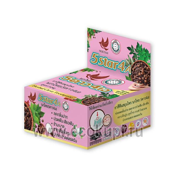 Травяная отбеливающая зубная паста с экстрактом гвоздики 5 Star 4A Cloves, купить корейские японскиехозтовары интернет магазин Экокупи акции
