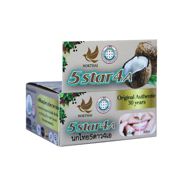 Травяная отбеливающая зубная паста с экстрактом кокоса 5 Star 4A Coconut 25 грt, купить дешево электрическая зубная щетка интернет магазин Экокупи Москва